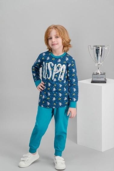 U.S. Polo Assn. U.S. Polo Assn Lisanslı Mavi Erkek Çocuk Pijama Takımı Lacivert